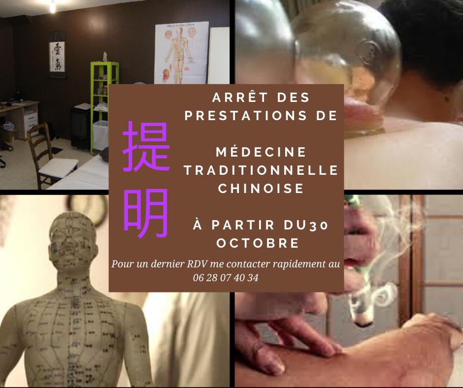 Arret des prestations de medecine traditionnelle chinoise a partir du30 octobre